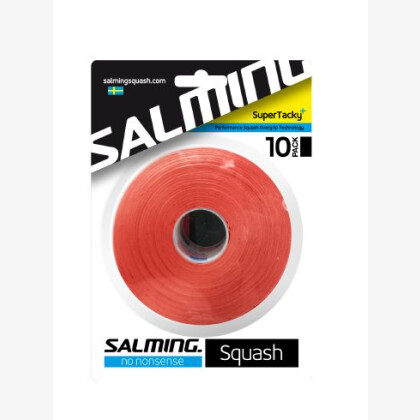 SALMING Squash SuperTacky+ OverGrip Brick Red 10-pack