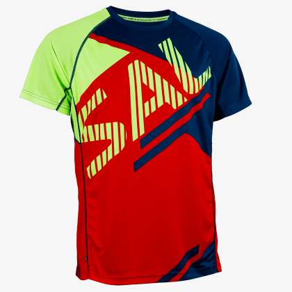 SALMING Run Bold Print Tee Red/Blue