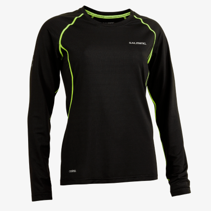 SALMING Run Balance LS Tee Women Black/Sharp Lime